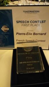 Un membre d'un club Toastmaster de Moselle a remporté la finale francophone de District (8 pays).